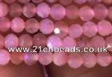 CTG719 15.5 inches 3mm faceted round tiny peach moonstone beads
