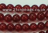 CTG76 15.5 inches 3mm round grade AA tiny red agate beads wholesale