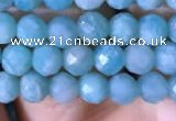 CTG767 15.5 inches 5mm faceted round tiny amazonite gemstone beads