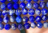 CTG783 15.5 inches 4mm faceted round tiny lapis lazuli beads wholesale