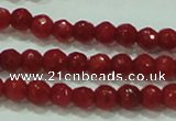 CTG81 15.5 inches 2mm faceted round tiny red coral beads wholesale