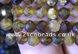 CTG817 15.5 inches 4mm faceted round tiny green garnet beads