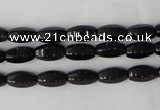 CTO116 15.5 inches 5*10mm faceted rice black tourmaline beads