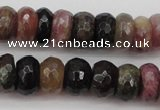 CTO377 15.5 inches 5*8mm faceted rondelle natural tourmaline beads