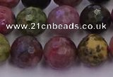 CTO638 15.5 inches 12mm faceted round tourmaline gemstone beads