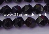 CTO645 15.5 inches 6mm faceted nuggets black tourmaline beads