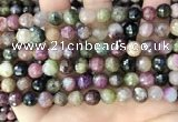 CTO677 15.5 inches 8mm faceted round natural tourmaline beads
