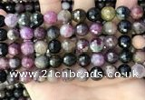 CTO678 15.5 inches 10mm faceted round natural tourmaline beads