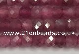 CTO685 15.5 inches 3*3.5mm faceted rondelle red tourmaline beads