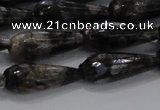 CTR100 15.5 inches 8*20mm faceted teardrop grey opal gemstone beads