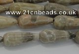 CTR108 15.5 inches 8*20mm faceted teardrop chrysanthemum agate beads