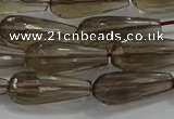 CTR110 15.5 inches 8*20mm faceted teardrop smoky quartz beads