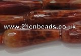 CTR143 15.5 inches 10*30mm faceted teardrop natural fire agate beads