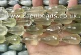 CTR352 15.5 inches 15*25mm faceted teardrop lemon quartz beads
