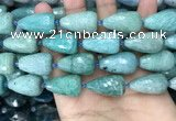CTR359 15.5 inches 15*25mm faceted teardrop amazonite beads