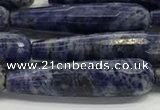 CTR47 15.5 inches 10*40mm faceted teardrop sodalite gemstone beads