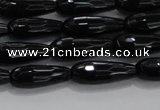 CTR82 15.5 inches 6*16mm faceted teardrop black agate beads