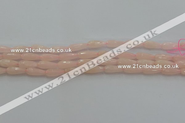 CTR84 15.5 inches 6*16mm faceted teardrop peach stone beads