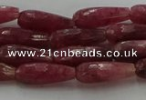 CTR86 15.5 inches 6*16mm faceted teardrop strawberry quartz beads