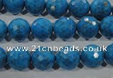 CTU1635 15.5 inches 14mm faceted round synthetic turquoise beads