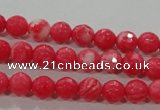 CTU2620 15.5 inches 4mm faceted round synthetic turquoise beads