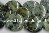 CTU417 15.5 inches 20mm flat round African turquoise beads wholesale