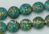 CTU613 15.5 inches 14mm flat round synthetic turquoise beads wholesale