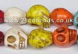 CTU712 15.5 inches 15*18*18mm skull dyed turquoise beads wholesale