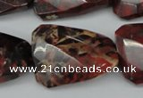 CTW418 15.5 inches 22*30mm faceted & twisted brecciated jasper beads