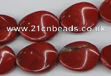 CTW85 15.5 inches 15*20mm twisted oval red jasper gemstone beads