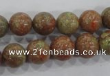 CUG104 15.5 inches 12mm round Chinese unakite beads wholesale
