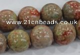 CUG106 15.5 inches 16mm round Chinese unakite beads wholesale