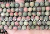 CUG192 15.5 inches 8mm round matte unakite beads wholesale