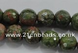 CUG302 15.5 inches 8mm faceted round unakite gemstone beads