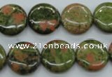 CUG68 15.5 inches 16mm flat round unakite gemstone beads wholesale