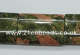 CUG72 15.5 inches 22*30mm flat tube unakite gemstone beads