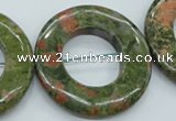 CUG77 15.5 inches 40mm donut unakite gemstone beads wholesale