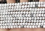 CWB250 15.5 inches 4mm round matte white howlite beads wholesale