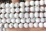 CWB253 15.5 inches 10mm round matte white howlite beads wholesale