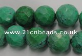 CWB405 15.5 inches 14mm faceted round howlite turquoise beads
