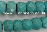 CWB453 15.5 inches 10*14mm faceted rondelle howlite turquoise beads