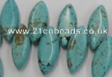 CWB755 Top-drilled 10*24mm marquise howlite turquoise beads wholesale