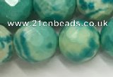 CWB883 15.5 inches 10mm faceted round howlite turquoise beads