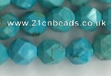 CWB889 15.5 inches 6mm faceted nuggets howlite turquoise beads