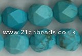 CWB890 15.5 inches 8mm faceted nuggets howlite turquoise beads