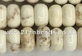 CWB896 15.5 inches 5*8mm rondelle white howlite turquoise beads