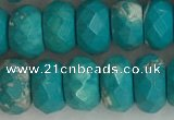 CWB905 15.5 inches 6*10mm faceted rondelle howlite turquoise beads