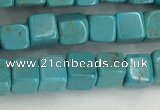 CWB909 15.5 inches 4*4mm cube howlite turquoise beads wholesale