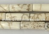 CWB914 15.5 inches 4*13mm tube white howlite turquoise beads