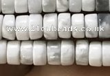 CWB920 15.5 inches 2*4mm heishi white howlite turquoise beads